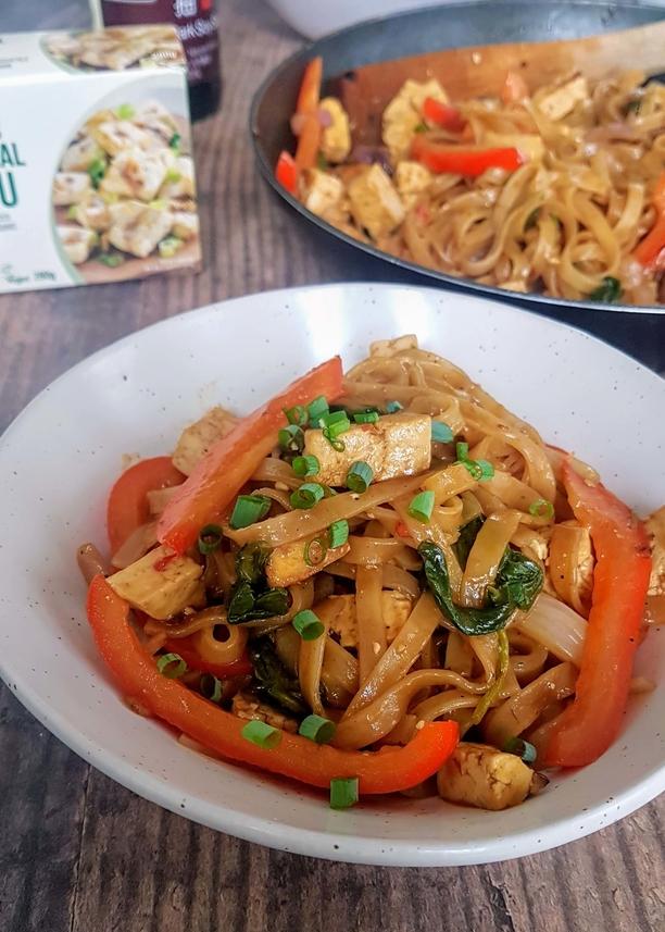 One Pan Coconut Noodles Plate Close Up